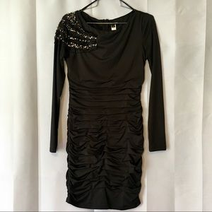 Nikibiki long sleeve ruched dress w/bling shoulder